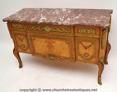 Antique Swedish Marble Top Commode Chest With Marquetry