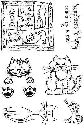 Happiness Cat 6 craft clear rubber stamps purrfect happy cats A6 pack set
