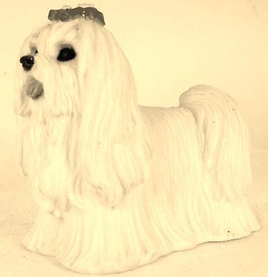 Dog Figurine MALTESE Standing Stacked Resin USA 1988-WHIMSICAL-WONDERFUL-RARE