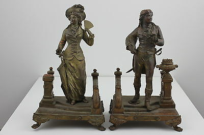 Pair French Gilded Spelter Figurines c19th century by Ernest Rancoulet 28cm High
