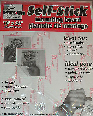 """Pres-On Self Stick Mounting Board 16"""" X 20"""" For Needlepoint, Cross Stitch, more"""