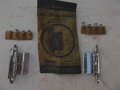 "Vtg NOS pAIR AMEROCK CHROME Cabinet HINGES  3/8"" Offset"