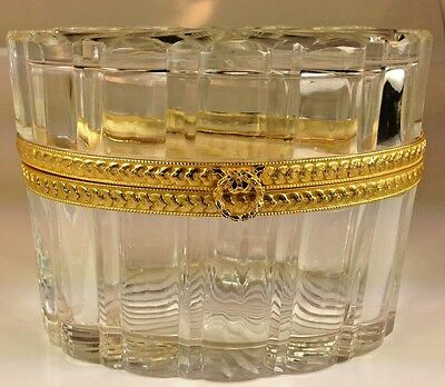 Vintage French Empire Baccarat Cut Crystal & Dore Bronze Oval  Casket Box