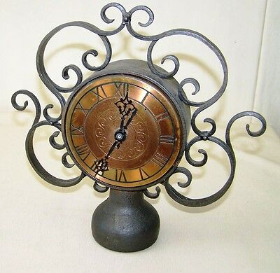 Old GDR Table Clock with Quartz Movement Metal Grandfather Clock
