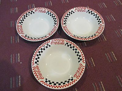 Lot Of 3 Coca Cola Gibson Diner Red & Black Checkered Soup Bowls Discontinued