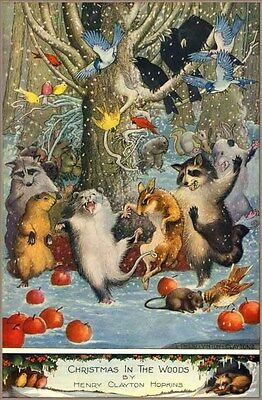 1917 Christmas Joy In The Woods - Animal Dancing Holiday Comic Art Poster 318524