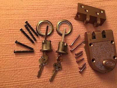 Vtg 2Brass Ilco Door Lock Cylinder Nails/workng Keys/back Collar Bonuslockplate+