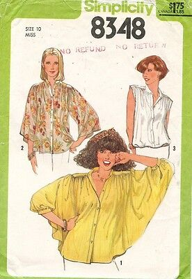 1970's VTG Simplicity Misses' Blouse Sewing Pattern 8348 Size 10