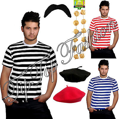 New Men's France Waiter Frenchman Stag Party 4 Pcs Set Fancy Dress Party Costume