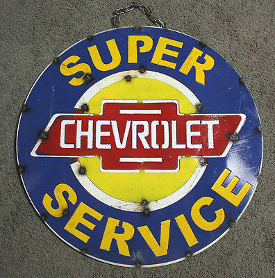 Metal CHEVY Bow Tie Sign Gas Oil Garage Man Cave Home Decor SUPER SERVICE TIN