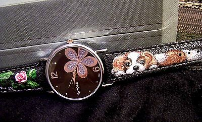 hand painted Cavalier King Charles Spaniel on water resistant wrist watch