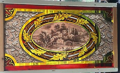 Rare signed Castle scene in this early painted and fired stained glass window