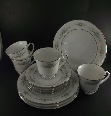 "12 Pcs Melissa 3060 Contemporary Noritake Tea Cup And Saucer W 8 1/4"" Plate"