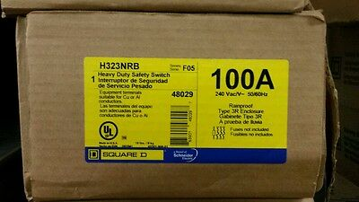 New In Box Square D H323NRB 100A 240V Nema 3R Fusible Disconnect FREE SHIPPING