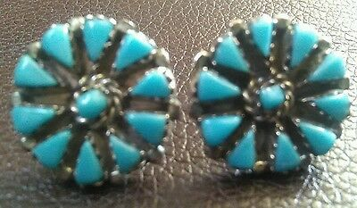 Earrings Vintage Mexico Sterling Silver  Turquoise