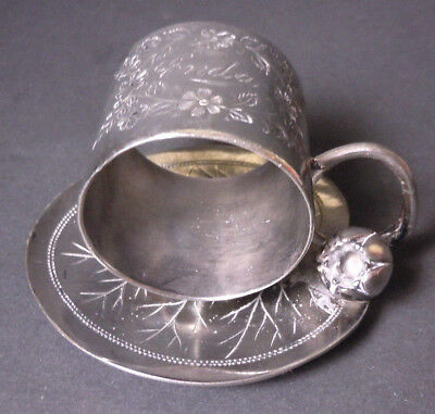 Antique Silver Plate Napkin Ring - Lily Pad With Flower - Meriden