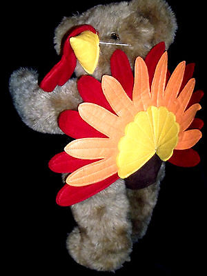 Vermont Teddy Bear Thanksgiving Turkey Bear BIV Eyes Jointed New Turkey Outfit