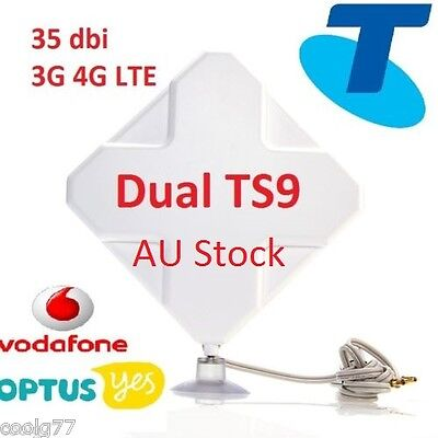 35dBi 3G 4G LTE Dual MIMO ANTENNA BOOSTER AERIAL TS9 plug&Cable Netgear Optus