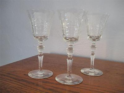 2 Vintage Rock Sharpe Cut Sherry Glasses - Beautiful Etched, Frosted Pattern
