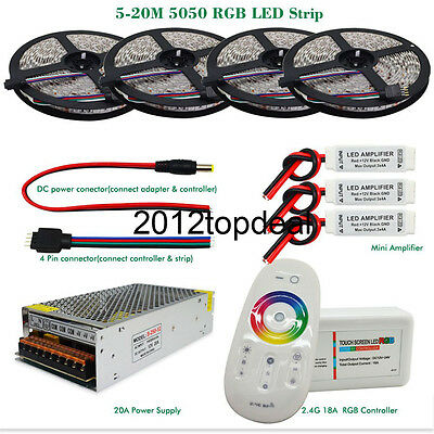 5M-25M 5050 RGB 300Led Strip light IP20/IP65 + RF controller +Power adapter kit
