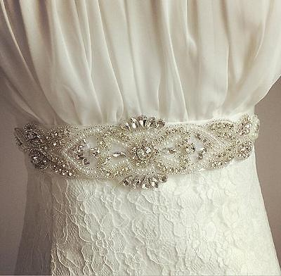 WhiteIvory Ribbon Bridal Wedding Dress Belt Sash Diamante Sparkle Crystal Sashes