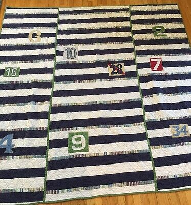 Pottery Barn Kids Blue Striped Plaid Queen Size Quilt Varsity