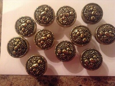 Set of 11 VINTAGE HEAVY SOLID BRASS FRUIT DRAWER DOOR PULL KNOBS ITALY