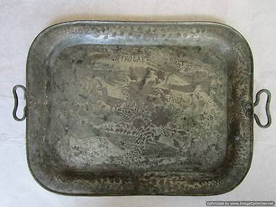 UNIQUE! Extremely rare !!! Handmade copper silver plated tray, ROMANIA 1887-RRR!