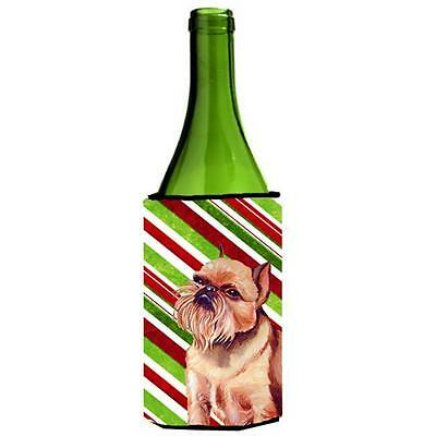 Brussels Griffon Candy Cane Holiday Christmas Wine bottle sleeve Hugger 24 oz.