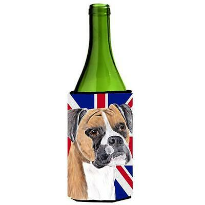 Boxer With English Union Jack British Flag Wine bottle sleeve Hugger 24 Oz.