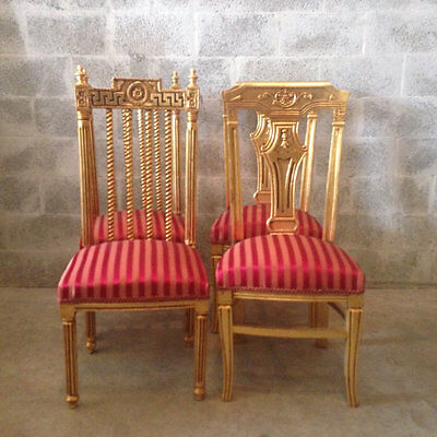 Antique Set Of 4 Dining Chairs In Louis Xvi Style With Handmade Decorations