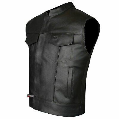SOA Men's Leather Vest Anarchy Motorcycle Biker Club Concealed Carry Outlaws