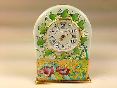 Scarce Tiffany & Co. Travel Clock Halcyon Days Enamels Case with Floral Design