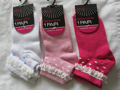 Bnwt - 3 Pairs Fashion Ankle Socks With Polka Dot And Lace Top- Sizes 9-12, 12-3
