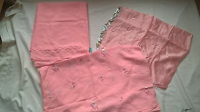 NEW 3-piece Salwar kameez pink material fabric embroidery sequins