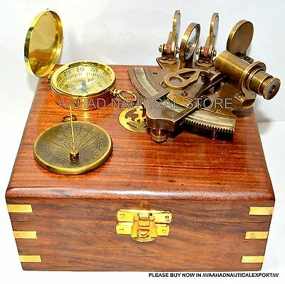 SOLID BRASS SEXTANT NAUTICAL MARITIME ASTROLABE MARINE GIFT SHIPS INTRAMENT m