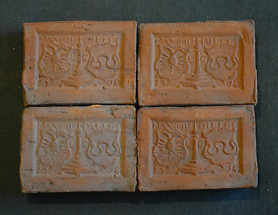 4 rare fireplace Tiles with a decor of Cotes of Arms Belgium dated 1578