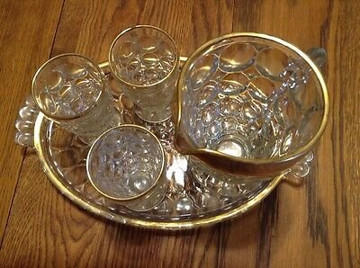 Jeannette Glass THUMBPRINT Gold Trim Juice Set with Tray, Pitcher & 3 Glasses