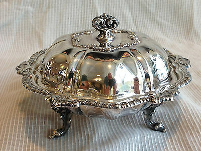 Small Footed Antique Silverplated Covered Dish with Strainer Piece Inside - EX