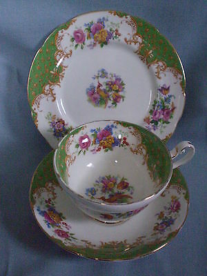 Vintage Paragon Rockingham Green Bird of Paradise Cup, Saucer & Plate Trio  VGC