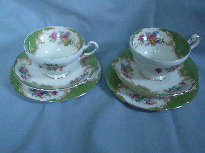Vintage Paragon Rockingham Green Pair of Cup, Saucer & Plate Trios  * VGC*
