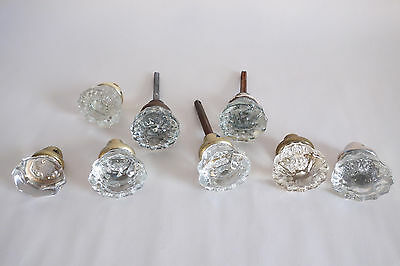 8 Vintage 12 Point glass doorknobs Brass Fittings Lot of Eight