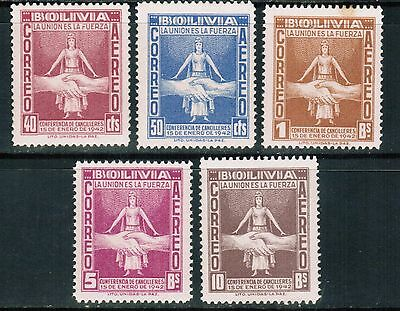 Bolivia Air Mail 1942 Sc#C86-90, Conference of Chancellors, MNH**VF cp6