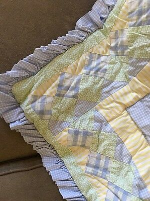 Laura Ashley Kids Crib / Toddler Bed Quilted Bed Cover Yellow Blue Green Cotton