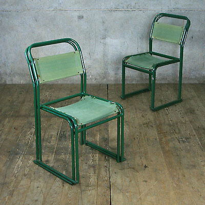 A Set Of 4 Vintage Industrial Pel Stacking Chairs - Cafe / Bar / Restaurant