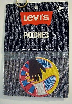 "LEVI'S IRON ON PATCH RARE NEVER USED 1970's ""HANDS OF PEACE"" JEANS, JACKET, PANT"