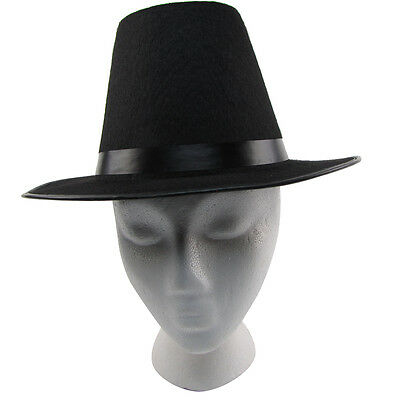Colonial Pilgrim/Puritan Tall Black Wide Brim Hat Thanksgiving/Halloween Costume