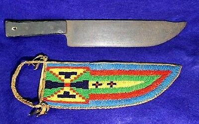 """Vintage Antique Circa 1890-1930's Sioux Beaded Knife Sheath w 13.75"""" Trade Knife"""
