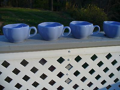 Henn Pottery Four Mugs Cups Yellow Green and Blue