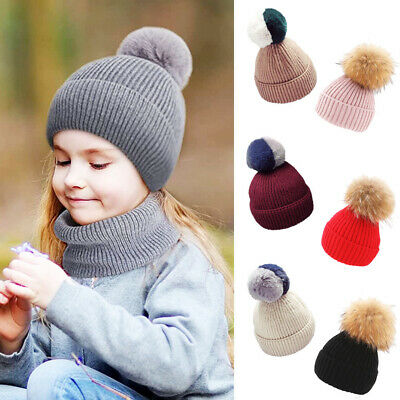 Childrens Boys Girls Ribbed Knitted Beanie Bobble Hat Detach Large Fur Pom Pom
